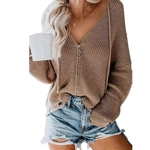 Zipper Front Knitted Sweater Hoodie